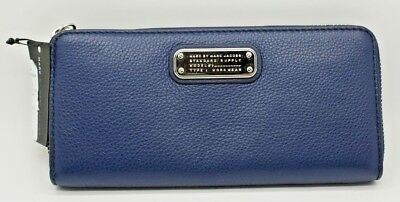 Marc By Marc Jacobs Classic Q Slim Zip Continental Leather Wallet Dark Blue