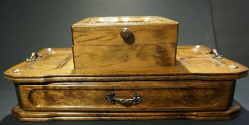 Vintage Wood Men's Dresser Jewelry Box Valet Caddy London Laether