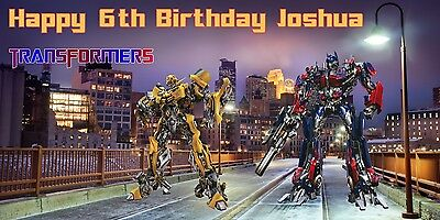 Transformers Birthday Banner (Personalized Transformers Optimus Prime Bumblebee Birthday Banner Free)
