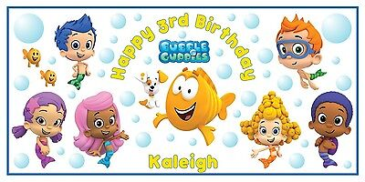 Personalized Bubble Guppies Theme Big Birthday Party Vinyl Banner Free Shipping