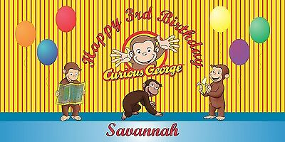 Personalized Curious George Theme Big Birthday Party Vinyl Banner Free Shipping](Curious George Party Theme)