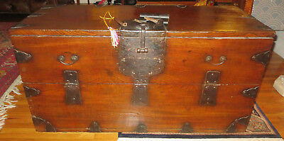 Antique Rare Japanese Ship's Open Front Chest Trunk Meiji Period