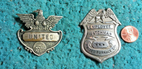 "UNITED FURNACE CO. WATCHMAN Metal 2.5"" Badges Pin Vintage Antique"