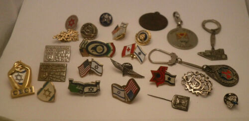 24 Vintage Flag of Israel American Old Enamel Pin Pins GROUP LOT Some Military *