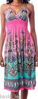Pink/Aqua Paisley Smocks Imperium Cami / Tank Sommer KLEID (Pink Tank Kleid)