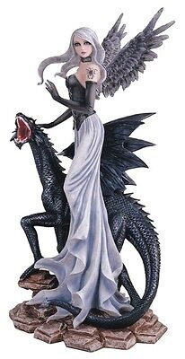 """Large scale 26"""" Fairy with Black Dragon GOTHIC FAIRY STATUE SCULPTURE"""