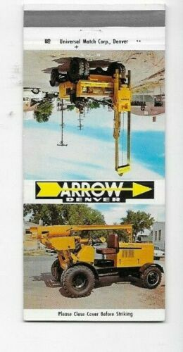 Matchbook Cover Arrow Manufacturing Company Denver CO Heavy Equipment 7803