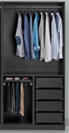 Ikea black brown pax wardrobe frame with compliment drawers and rails (matching bed etc available)