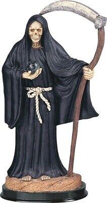 "12"" Black Santa Muerte Statue Holy Death Grim Reaper Angel of Death Santisima"