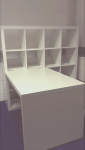 White Ikea Bookcase with detachable desk and desk chair