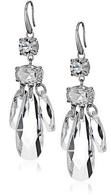 NEW MICHAEL KORS SILVER TONE,LARGE CRYSTALS DROP HOOK EARRINGS  MKJ7011