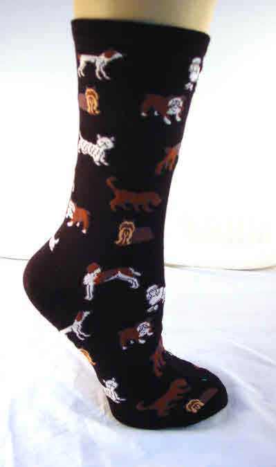 Trouser Socks Ladies Crew Black Fun Dogs Hosiery NEW Size 9-11 HOTSOX