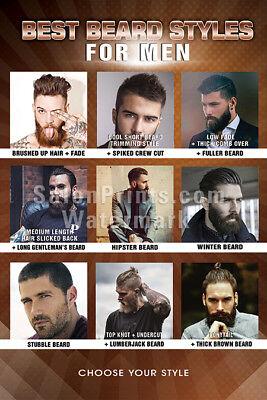 Hair Salon Poster - Mesh Vinyl - Best Beard Styles For Men Poster    (Best Beards Styles)