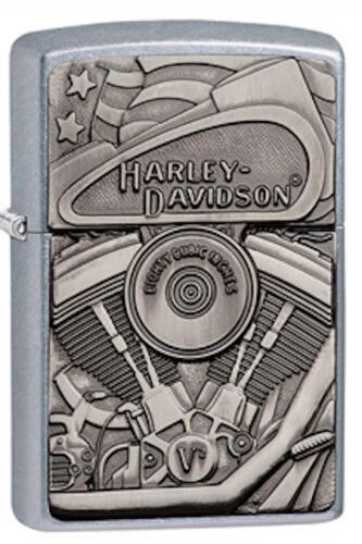 Zippo Harley Davidson Emblem Lighter With Motor, Flag and Eagle, 29266, NIB