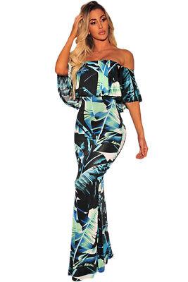 Black & Green Tropical Leaf Print Off-the-Shoulder Maxi Dress LARGE 12-14 Large Tropical Leaf