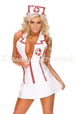 Sexy Nurse Collar Zipper Dress Lingerie Adult Women Halloween Costume M-XL USA - Adult Nurse Halloween Costumes
