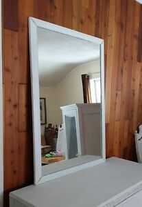 Great Large Shabby Chic Distressed Vintage White Framed Mirror
