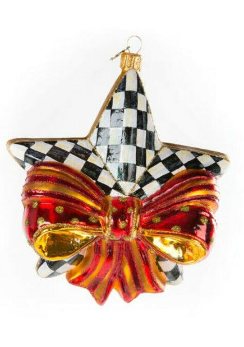 Mackenzie Childs RIBBONED STAR w/Courtly Check BLOWN GLASS ORNAMENT NEW m19-n