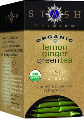 Stash Premium Organic Lemon Ginger Green Tea, Tea Bags, 18-C