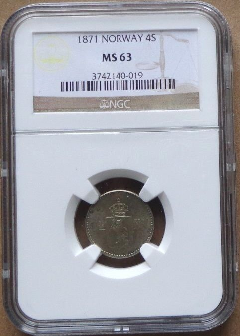 1871 NORWAY SILVER Coin 4 Skilling NGC  MS-63 , SCARCE GRADE .
