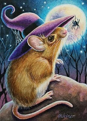 Halloween Spider Web Art (ACEO Limited Edition Print Halloween Mouse Witch Spider Web Art by J.)
