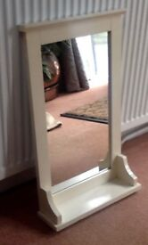 "MIRROR COUNTRY CREAM COTTAGE STYLE WITH SHELF 22 "" HIGH X 13 WIDE"