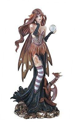 """9"""" Brown Fairy and Dragon Statue Figurine Figure Fantasy Magic"""