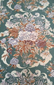 Green / brown / white floral linen fabric good for curtains