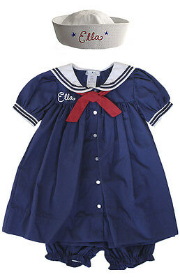 Sailor Girl Dress Set with Hat Nautical Baby Toddler PERSONALIZED - Personalized Infant Dresses