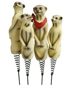 Set Of 4 Outdoor Garden Meerkat Animal Fun Family Wobbly Secure Ornaments