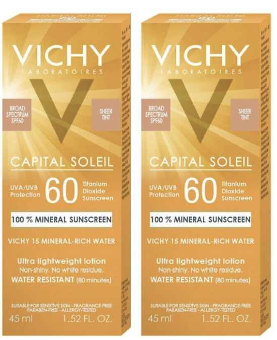 2 Pack Vichy Capital Soleil Mineral Ultra Lightweight Lotion SPF 60 1.52 oz