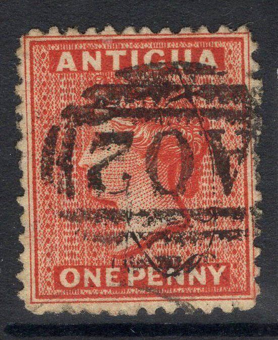 ANTIGUA SG14x 1872 1d SCARLET WMK REVERSED USED