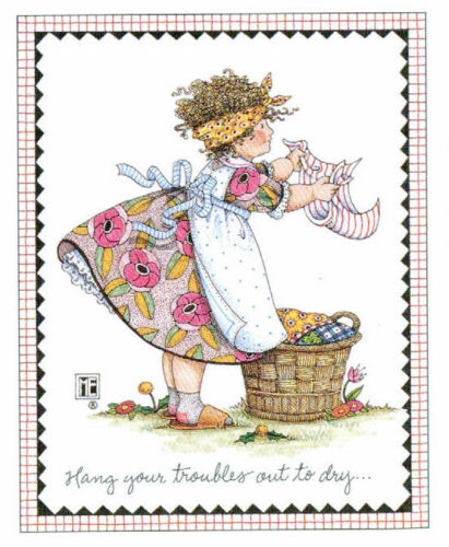 HANG YOUR TROUBLES OUT TO DRY-Handcrafted Fridge Magnet-w/Mary Engelbreit art