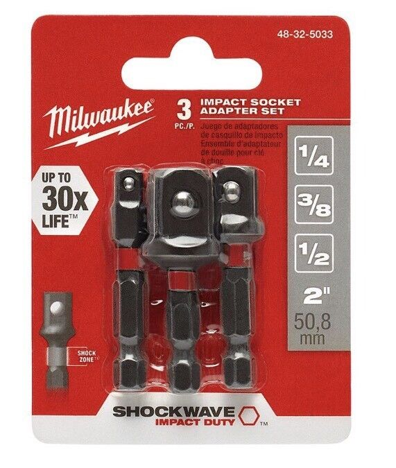MILWAUKEE: 48-32-5033: Shockwave Socket Adapter Set: 3 Piece