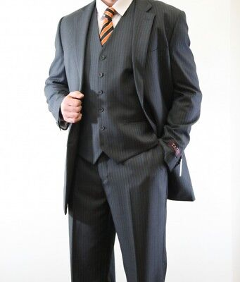 Men's Three Piece vested 2 Button Pinstripe Suit Formal Modern Fit Stripe Suits ](Pinstripe Vest)