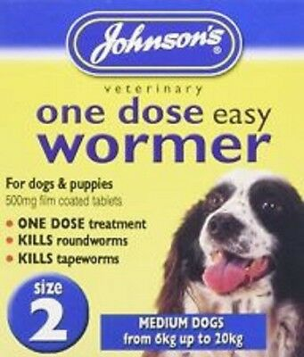 One Dose Easy Wormer - Dog Worming Tablets medium Dogs & Puppies Size 2
