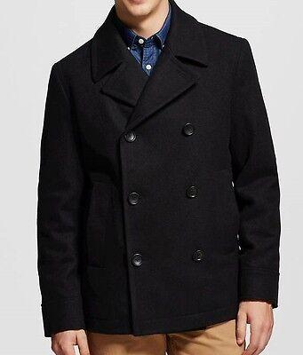 Merona Mens Black Double Breasted Wool Peacoat Jacket Winter Coat, Size Medium   Black Double-breasted Peacoat