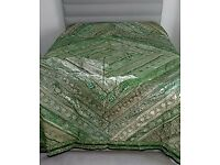 Beautifully Stitched Green/Gold shimmer Indian Bed Spread