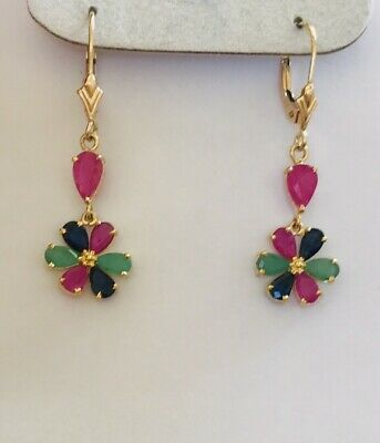 14k Solid Yellow Gold  Pear Emerald & Sappier & Ruby Dangle Earring 4.58CT2.05GM