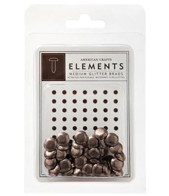 American Crafts Elements CHESTNUT Brown Medium Glitter Brads 8mm 40/pk (American Crafts Elements Brads)