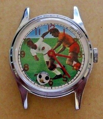 Vintage wind-up Swiss Soccer Football Character Watch for Parts or Restoration