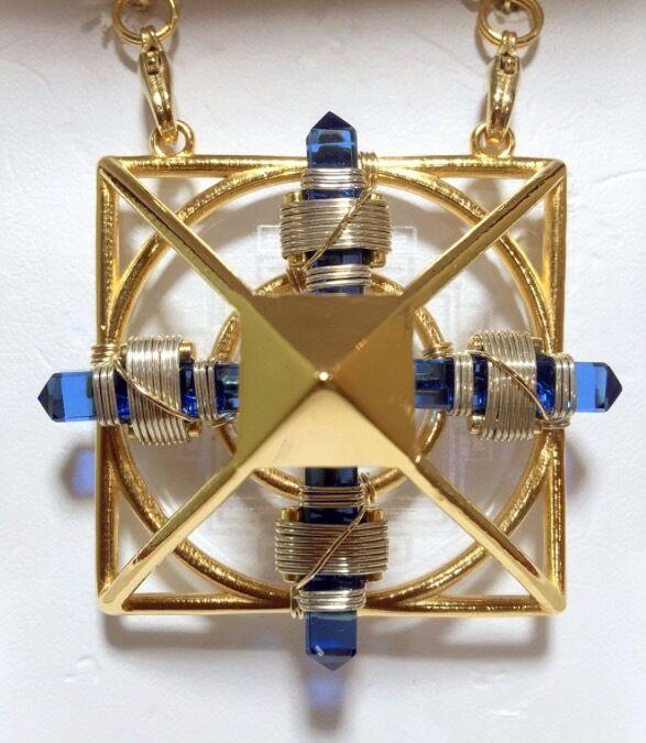 Shambhala Necklace Healing Gold pyramid & Blue Crystals