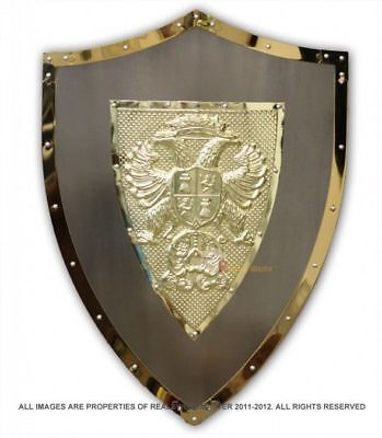 "24"" Medieval Knight Lion Knights Shield Armor with Sword Holder Brand New"