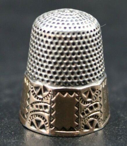 Antique Sterling Silver Gold Thimble Size 8 Stern Bros. Anchor Hallmark (O3H)