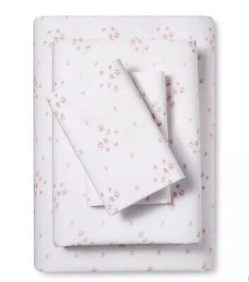 250 Thread (Simply Shabby Chic Twin Sheet Set Light Pink Rose Cotton 250 Thread )