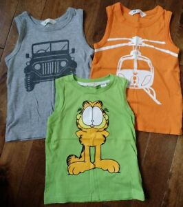 3 H&M Boys Cotton Summer Graphic Tanks 2-4 Yrs > All for $4!