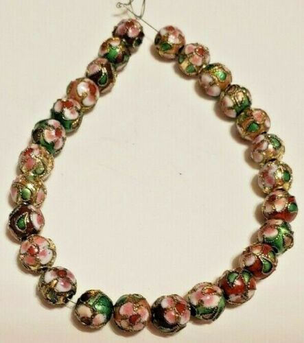 26 Vintage 7mm Round Green, Pink & Gold Cloisonne Beads