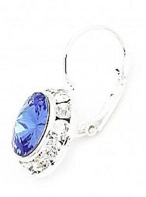 SWAROVSKI ® ELEMENTS-12MM-BLUE SAPPHIRE-SILVER PLATED LEVERBACK EARRINGS