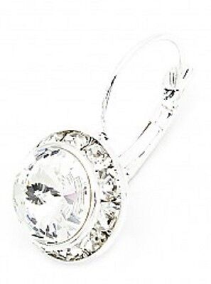 SWAROVSKI ® ELEMENTS-10MM -CRYSTAL CLEAR- SILVER PLATED LEVERBACK EARRINGS ()