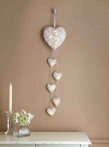 New Vintage heart shabby chic led light 6 white hanging rattan wicker decoration